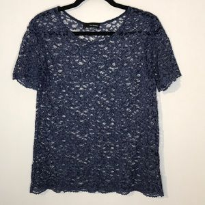 The Kooples blue all lace short sleeve top